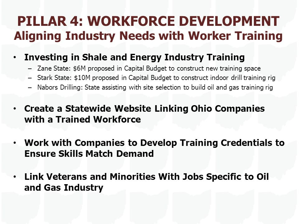 PILLAR 4: WORKFORCE DEVELOPMENT Aligning Industry Needs with Worker Training Investing in Shale and Energy Industry Training – Zane State: $6M propose
