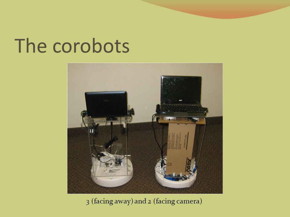 Navigation Robots can navigate one floor (~30 m x 100 m) containing offices, classrooms and labs Bar codes used by robots (for localization) and smartphones (for information) alike Bar codes give robot position to within 5 cm, 5 degrees Hallway with barcodes at each doorway