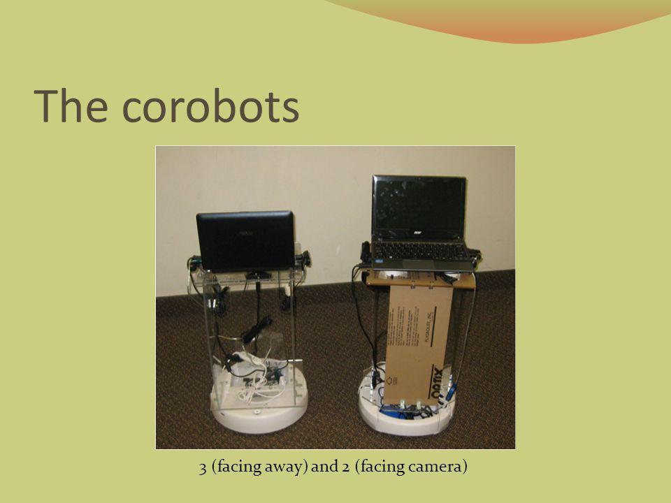 The corobots 3 (facing away) and 2 (facing camera)