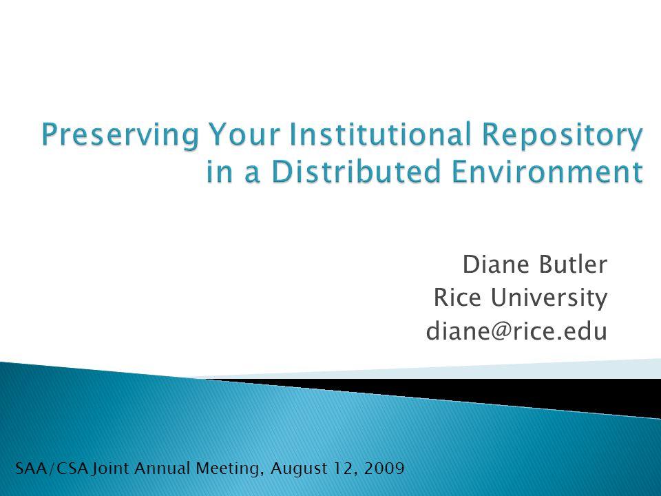 Diane Butler Rice University diane@rice.edu SAA/CSA Joint Annual Meeting, August 12, 2009