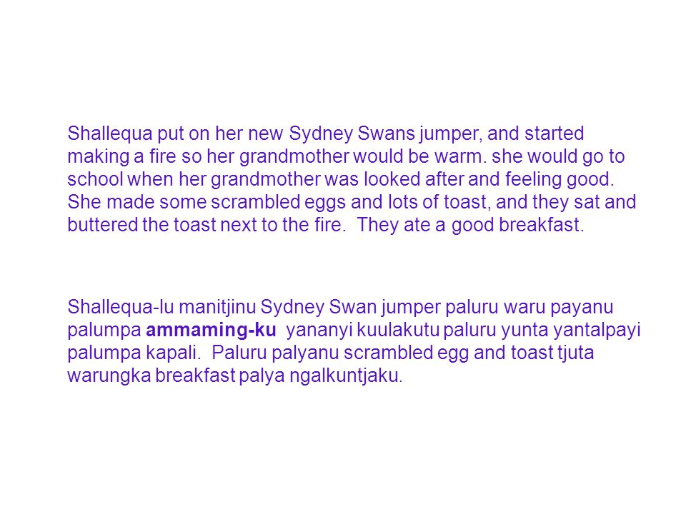 Shallequa put on her new Sydney Swans jumper, and started making a fire so her grandmother would be warm.