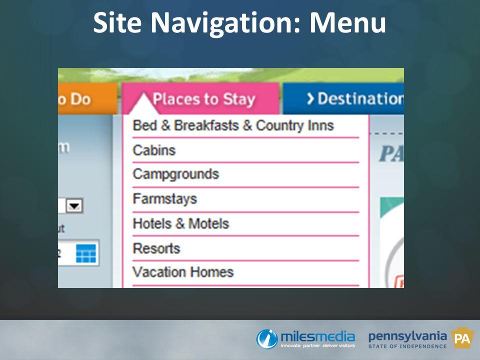 Site Navigation: Menu
