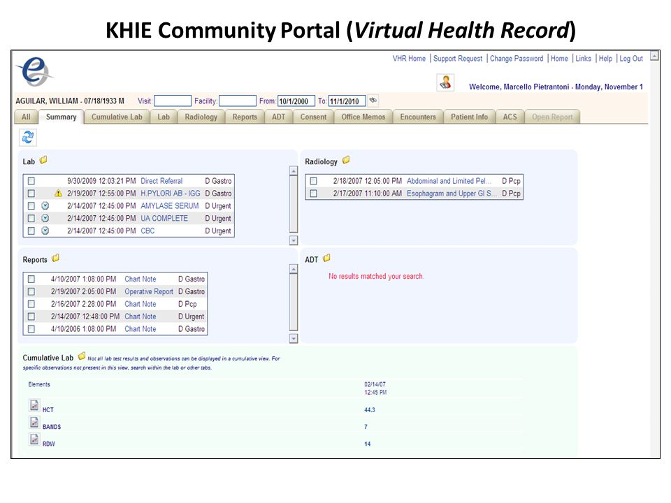 KHIE Community Portal (Virtual Health Record)
