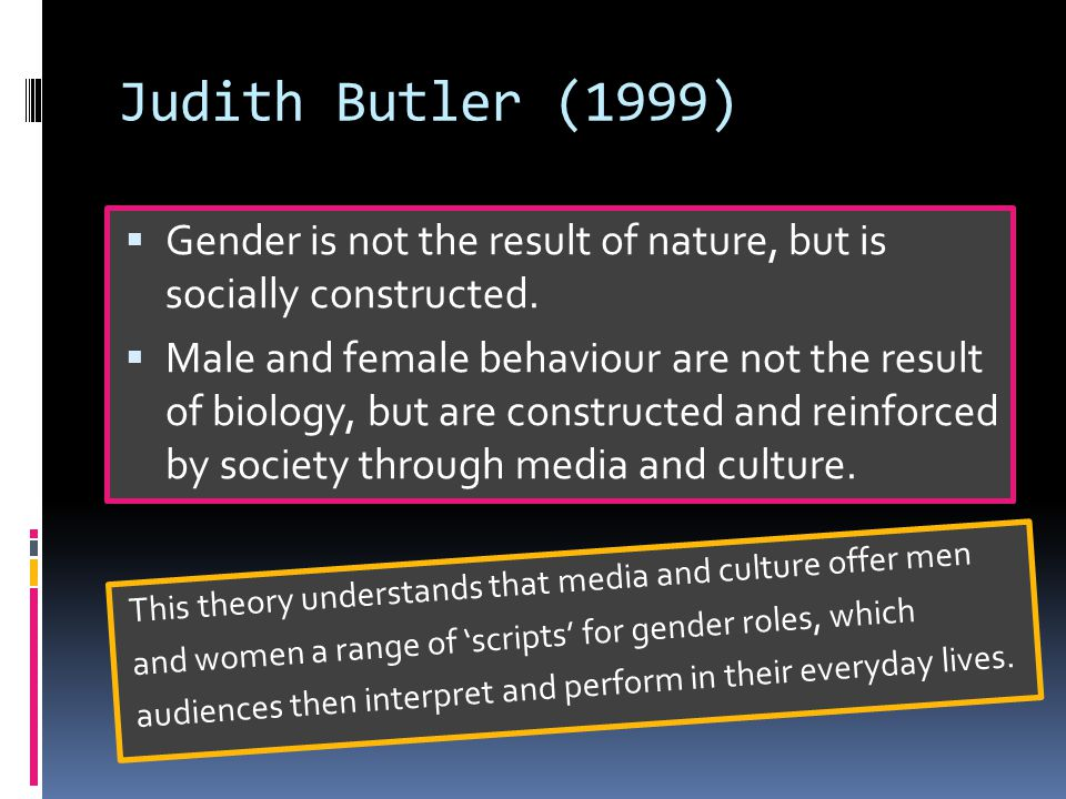 Judith Butler (1999)  Gender is not the result of nature, but is socially constructed.