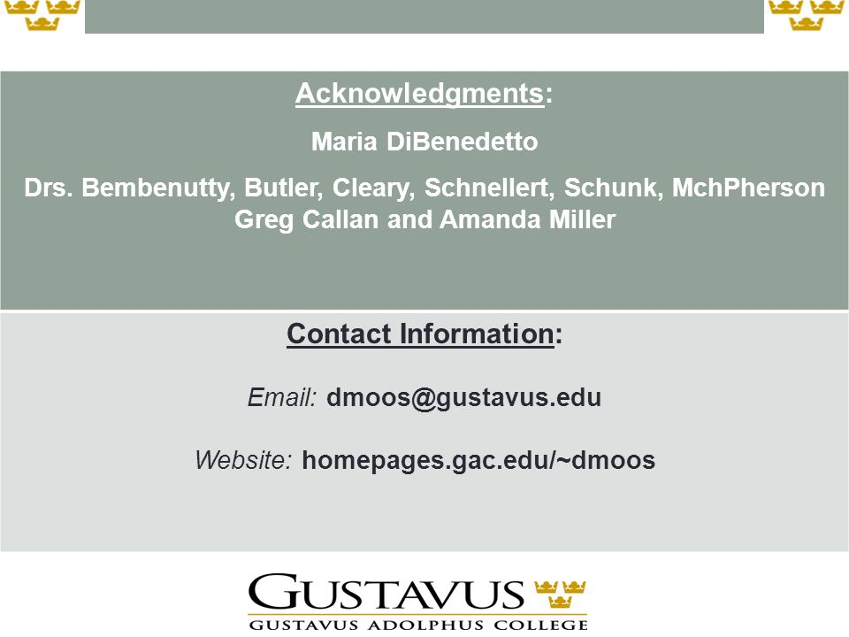 Acknowledgments: Maria DiBenedetto Drs.