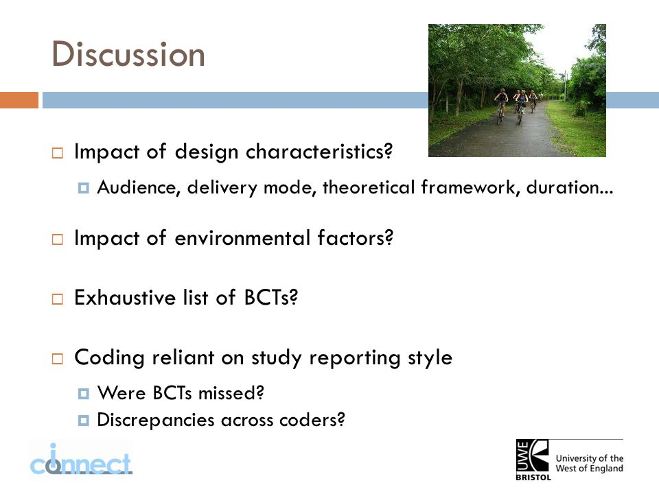 Discussion  Impact of design characteristics.