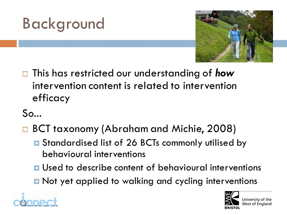  This has restricted our understanding of how intervention content is related to intervention efficacy So...