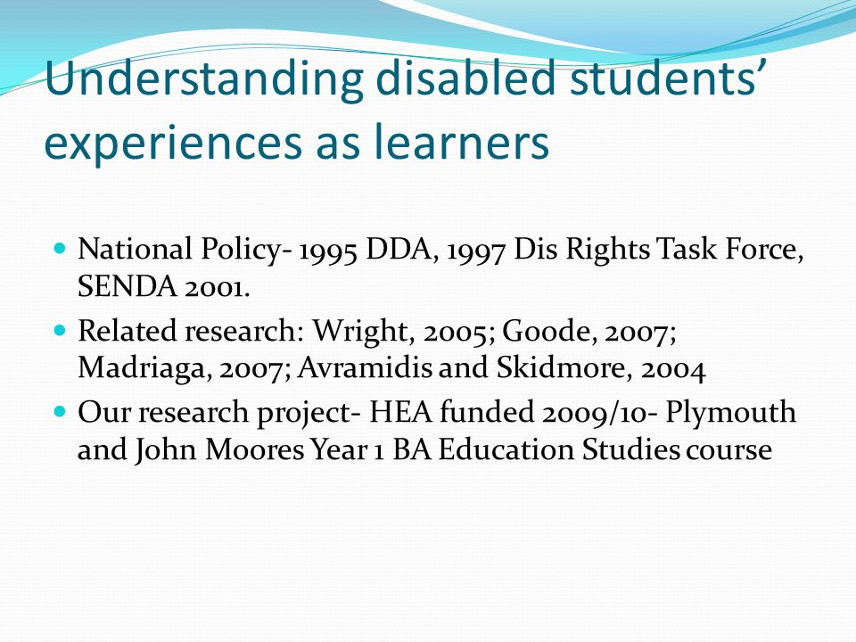 Phase 2 –Interview questions Prior to coming to University, did you have any knowledge of policy/legislation relating to Disability.
