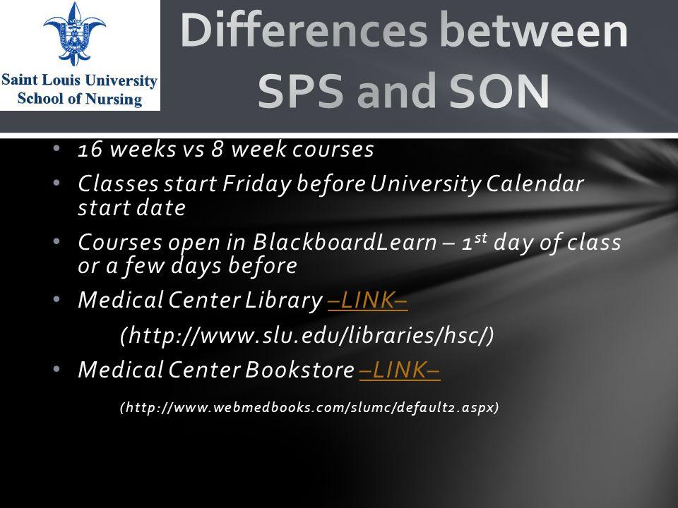 16 weeks vs 8 week courses Classes start Friday before University Calendar start date Courses open in BlackboardLearn – 1 st day of class or a few days before Medical Center Library –LINK––LINK– (http://www.slu.edu/libraries/hsc/) Medical Center Bookstore –LINK––LINK– (http://www.webmedbooks.com/slumc/default2.aspx)