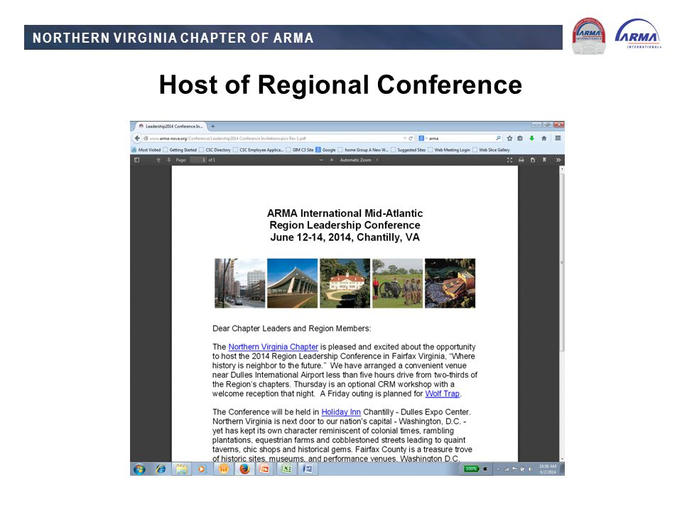NORTHERN VIRGINIA CHAPTER OF ARMA Host of Regional Conference