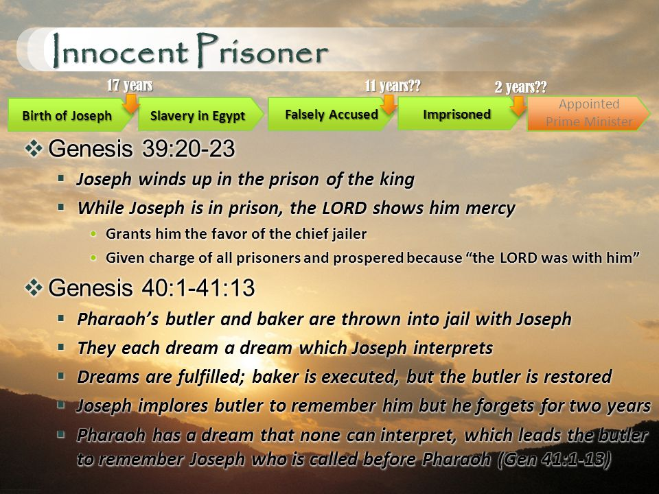 Innocent Prisoner Birth of Joseph Slavery in Egypt Imprisoned 17 years Falsely Accused 11 years .