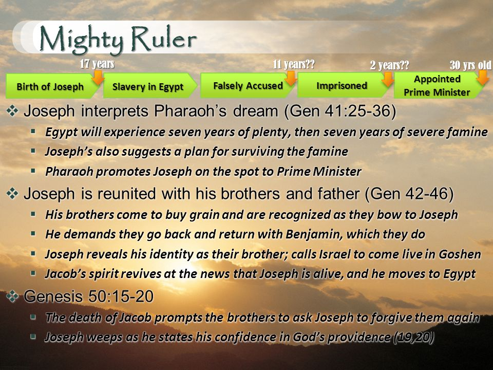 Mighty Ruler Birth of Joseph Slavery in Egypt Imprisoned Appointed Prime Minister 17 years Falsely Accused 11 years .
