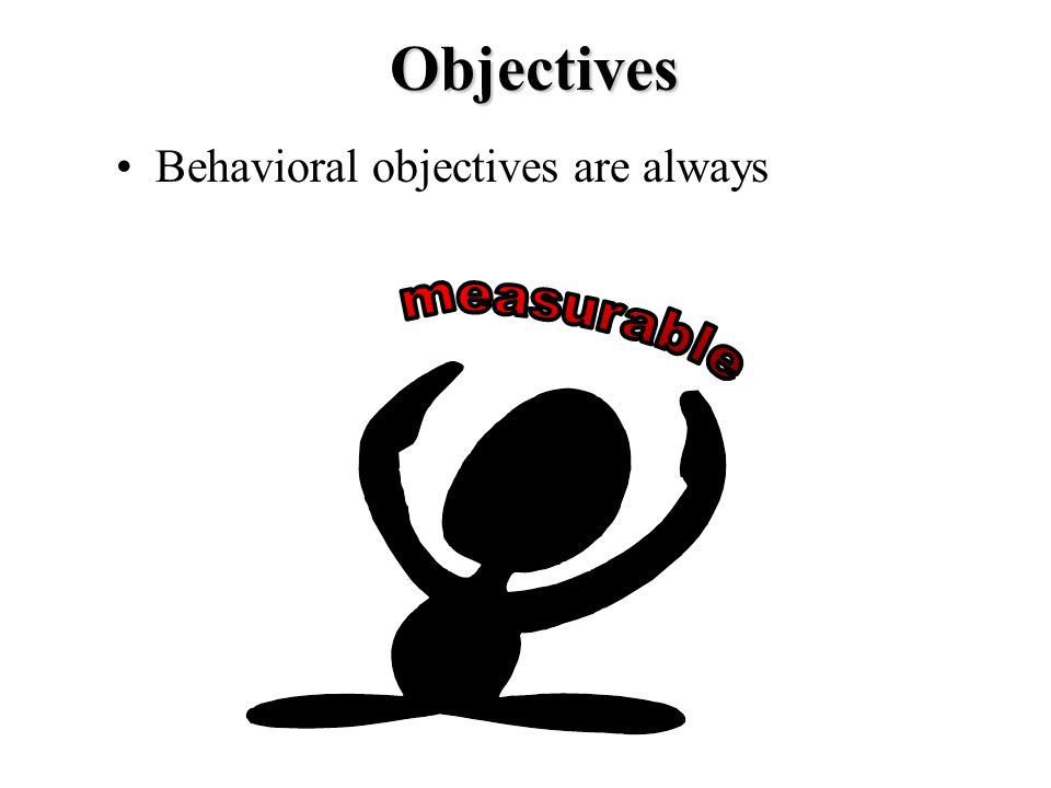 Objectives Behavioral objectives are always