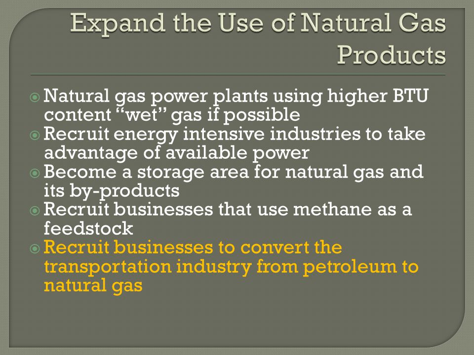  Natural gas power plants using higher BTU content wet gas if possible  Recruit energy intensive industries to take advantage of available power  Become a storage area for natural gas and its by-products  Recruit businesses that use methane as a feedstock  Recruit businesses to convert the transportation industry from petroleum to natural gas