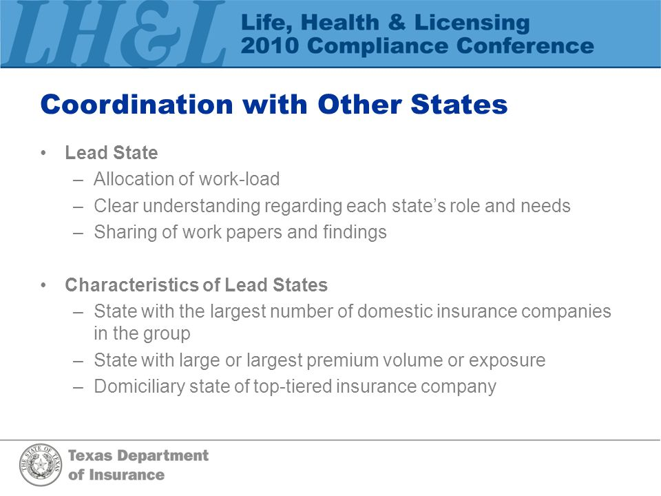 Coordination with Other States Lead State –Allocation of work-load –Clear understanding regarding each state's role and needs –Sharing of work papers