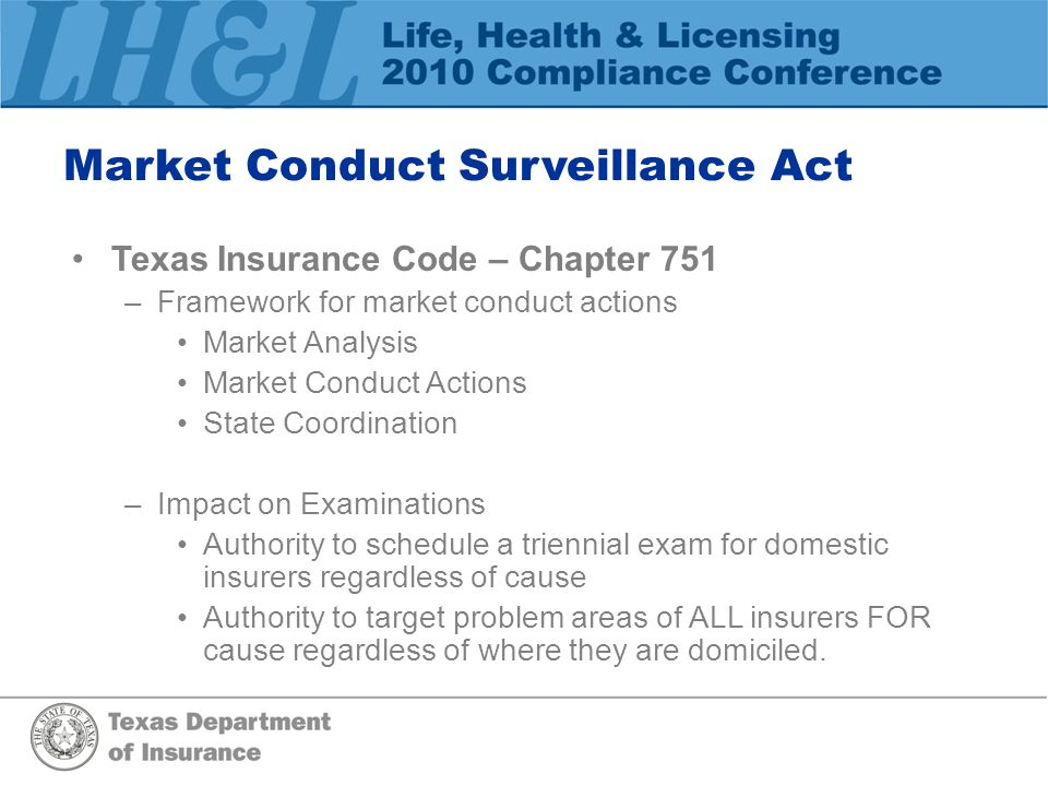 Market Conduct Surveillance Act Texas Insurance Code – Chapter 751 –Framework for market conduct actions Market Analysis Market Conduct Actions State