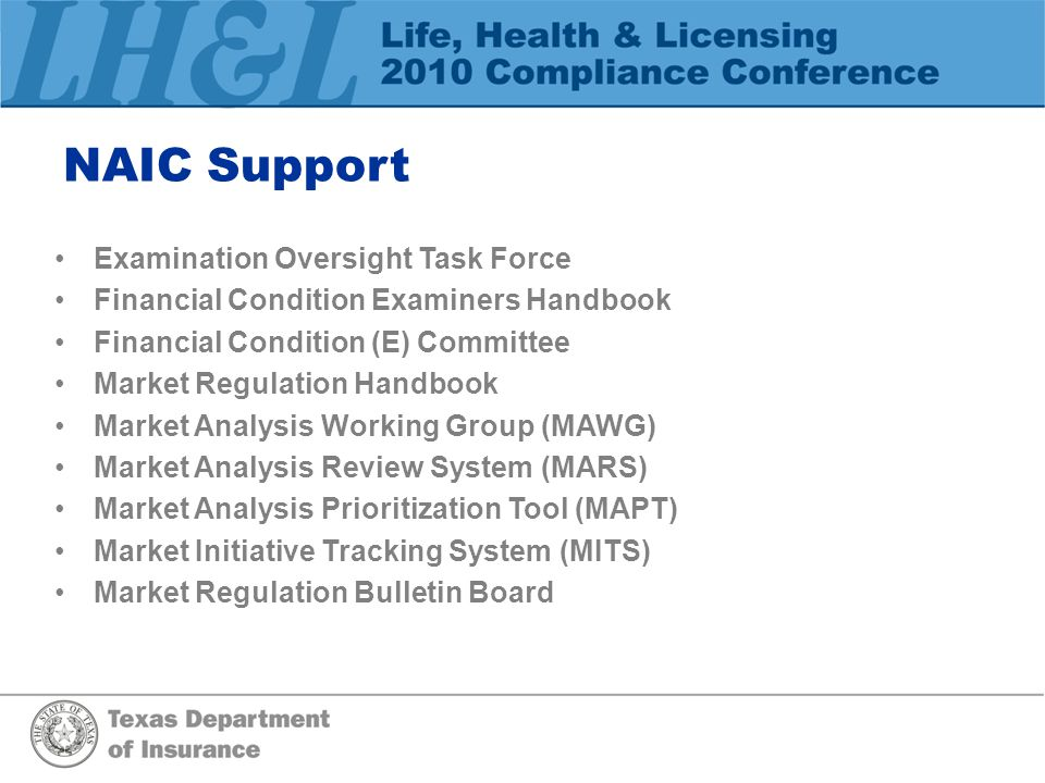 NAIC Support Examination Oversight Task Force Financial Condition Examiners Handbook Financial Condition (E) Committee Market Regulation Handbook Mark