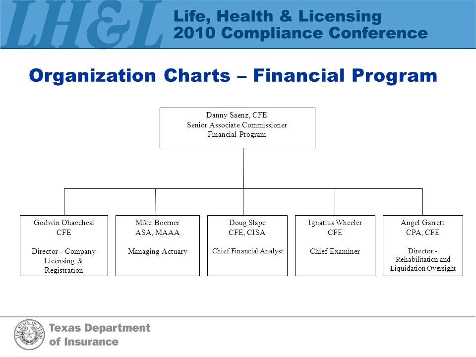 Organization Charts – Financial Program Danny Saenz, CFE Senior Associate Commissioner Financial Program Godwin Ohaechesi CFE Director - Company Licen