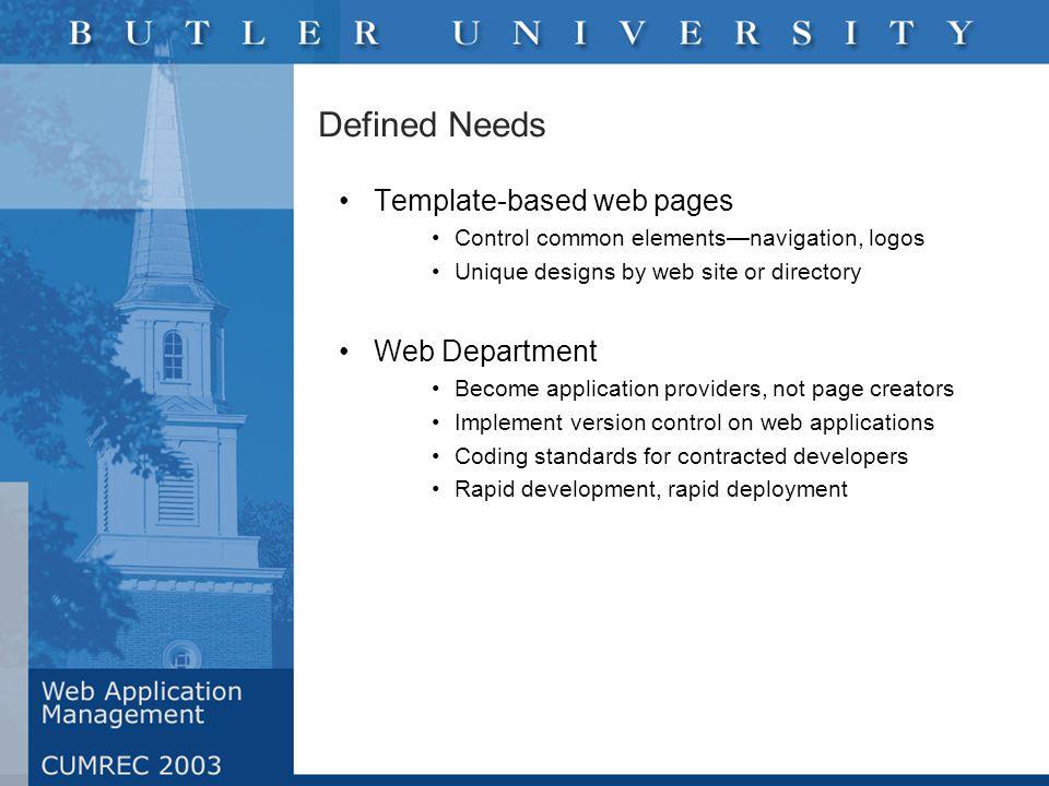CMS Options Enterprise ($200K +) Documentum* Interwoven* Vignette* Upper-tier ($100K +) Stellent Microsoft** FileNET Gauss Mid-tier ($50K +) RedDot Low-priced ($1-10K) Ektron Service Provider: Atomz, iUpload Open Source: Zope, Midgard, OpenCMS *Identified by Gartner as Leader; **Identified by Gartner as Challenger
