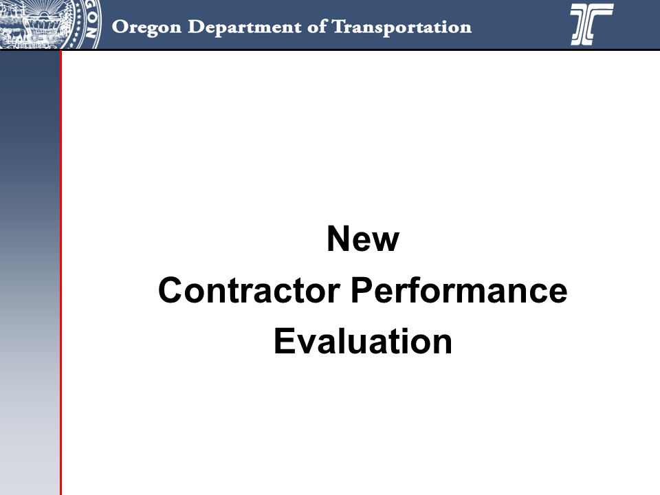 New Contractor Performance Evaluation