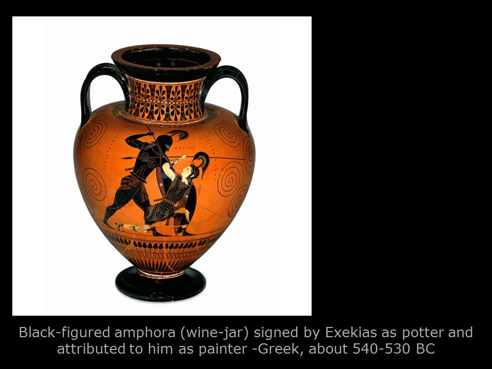 Black-figured amphora (wine-jar) signed by Exekias as potter and attributed to him as painter -Greek, about 540-530 BC