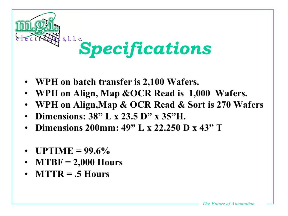 The Future of Automation Specifications WPH on batch transfer is 2,100 Wafers.