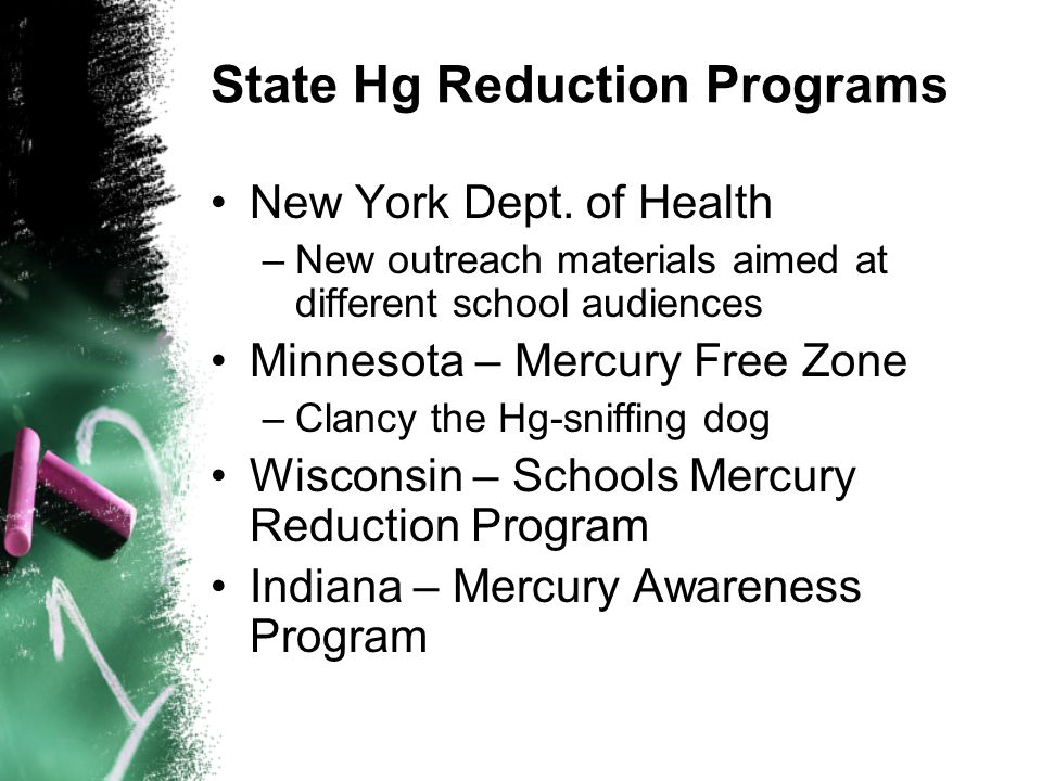 State Hg Reduction Programs New York Dept.