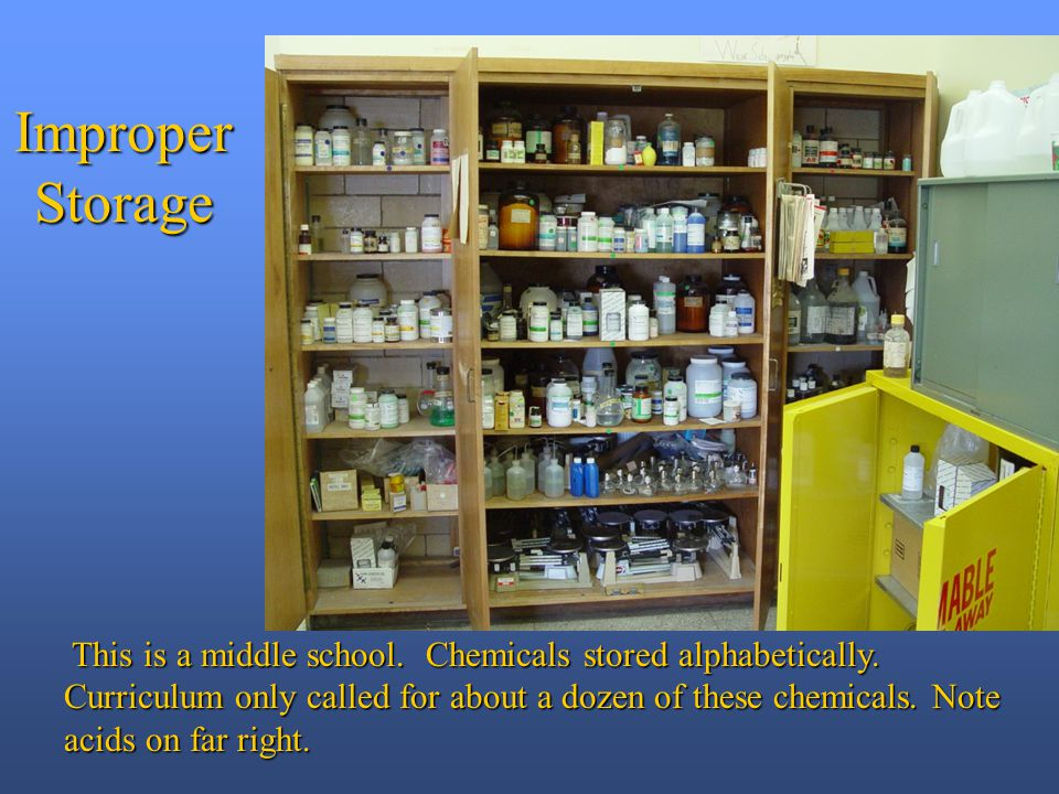 This is a middle school. Chemicals stored alphabetically.