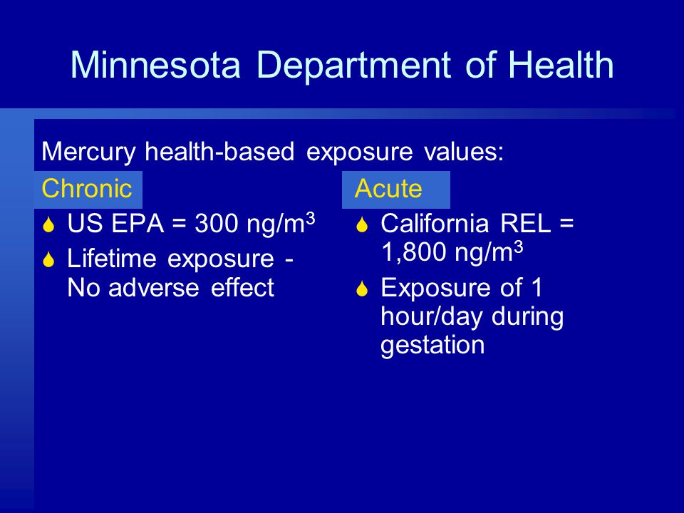 Minnesota Department of Health Chronic  US EPA = 300 ng/m 3  Lifetime exposure - No adverse effect Acute  California REL = 1,800 ng/m 3  Exposure of 1 hour/day during gestation Mercury health-based exposure values: