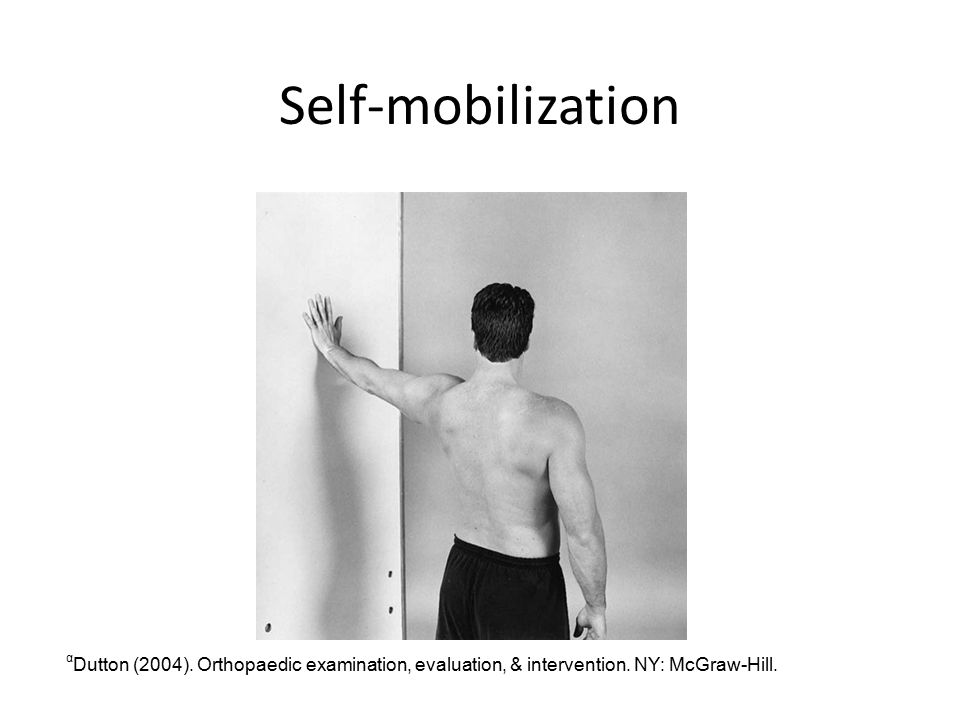 Self-mobilization α Dutton (2004).Orthopaedic examination, evaluation, & intervention.