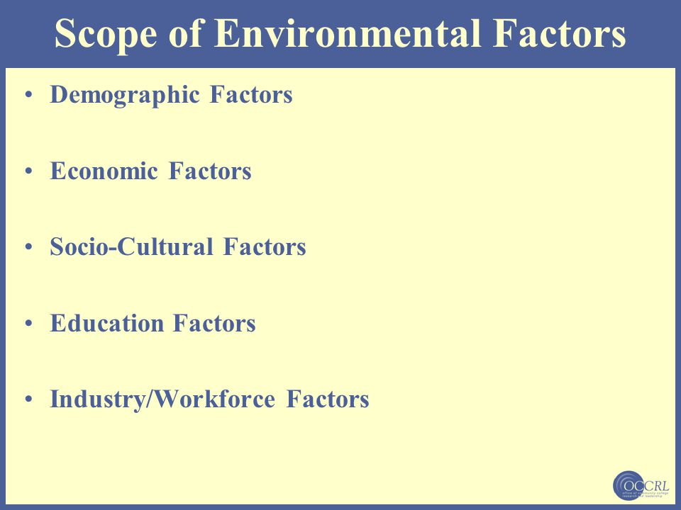 Scope of Environmental Factors Demographic Factors Economic Factors Socio-Cultural Factors Education Factors Industry/Workforce Factors