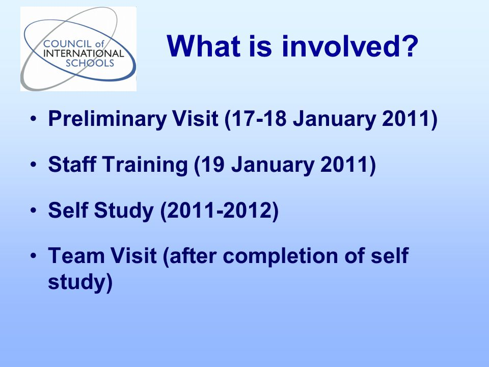 Preliminary Visit (17-18 January 2011) Staff Training (19 January 2011) Self Study ( ) Team Visit (after completion of self study) What is involved