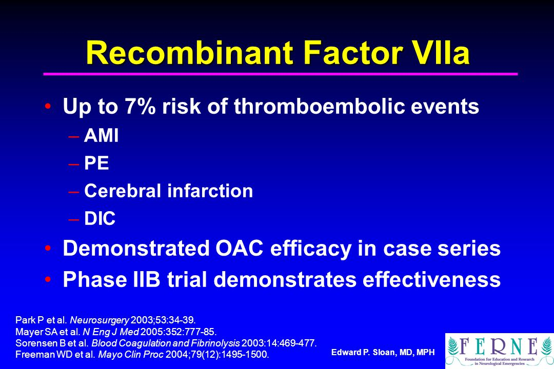 Recombinant Factor VIIa Up to 7% risk of thromboembolic events –AMI –PE –Cerebral infarction –DIC Demonstrated OAC efficacy in case series Phase IIB trial demonstrates effectiveness Park P et al.