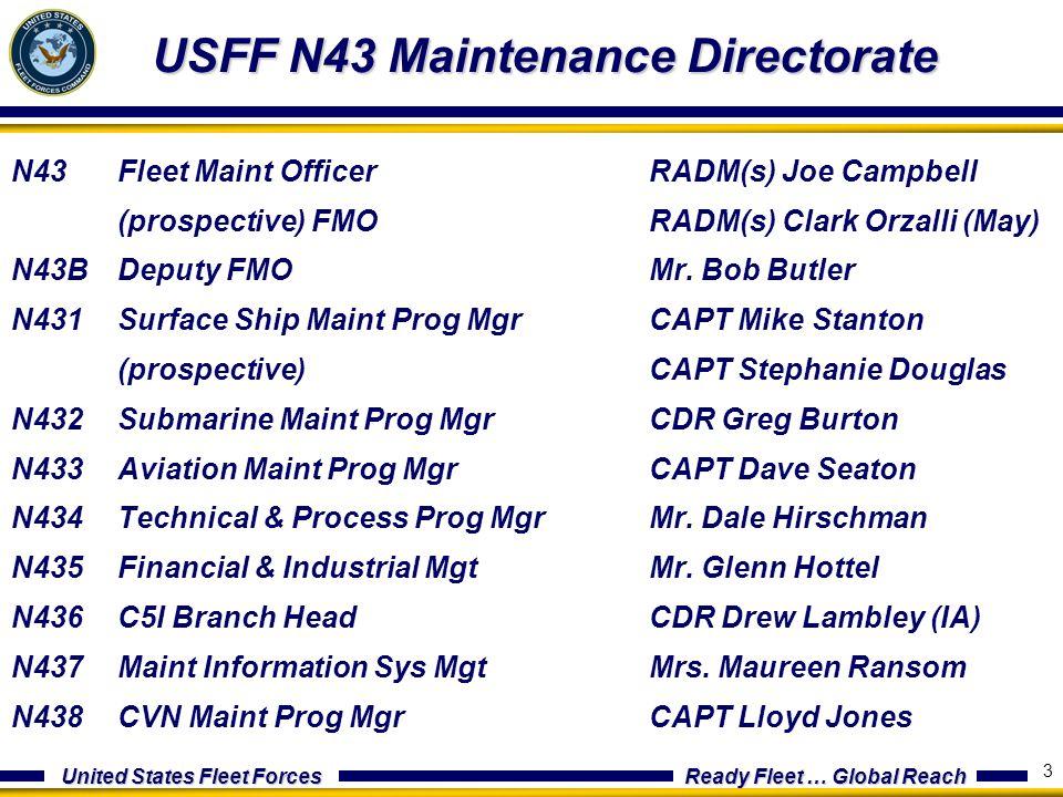 United States Fleet Forces Ready Fleet … Global Reach 3 USFF N43 Maintenance Directorate N43Fleet Maint OfficerRADM(s) Joe Campbell (prospective) FMOR