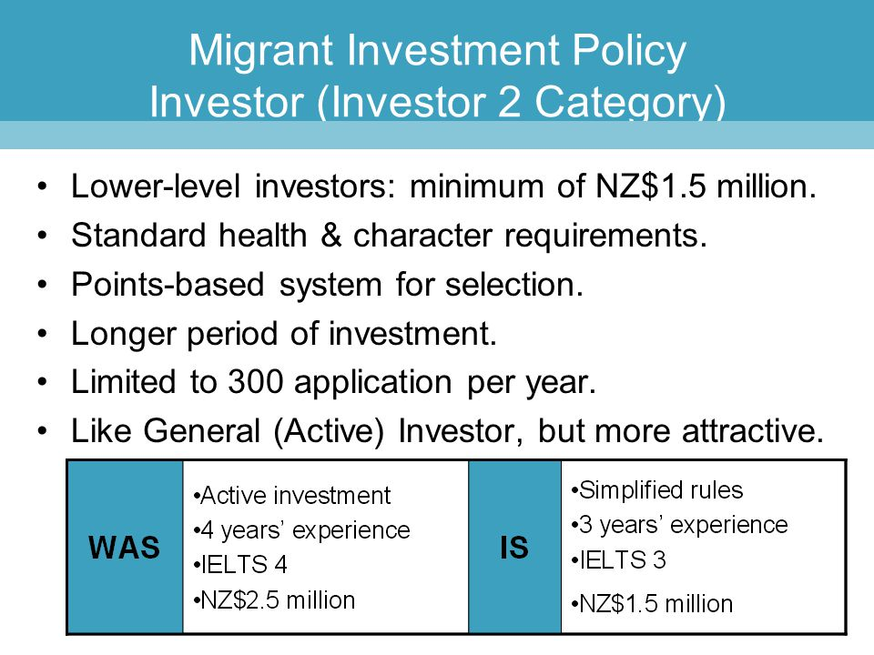 Migrant Investment Policy Investor (Investor 2 Category) Lower-level investors: minimum of NZ$1.5 million. Standard health & character requirements. P