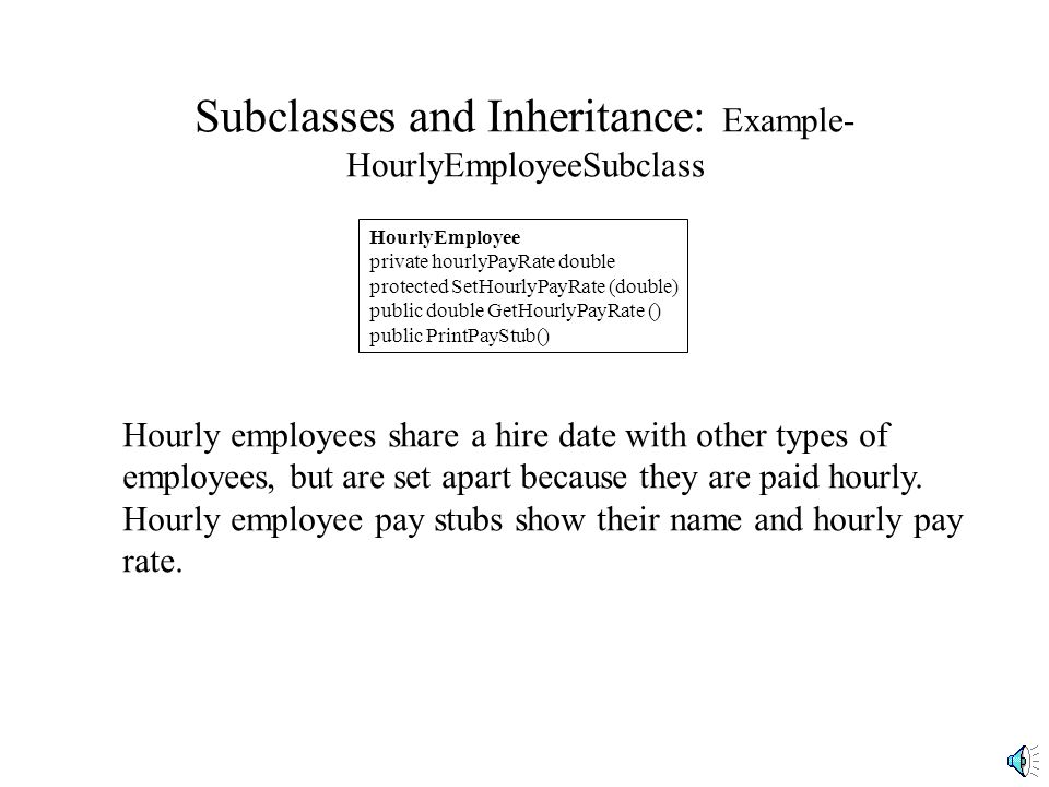 Subclasses and Inheritance: Example- Salaried Employee Subclass SalariedEmployee private monthlyPayRate double private vacationAvailable float public SetMonthlyPayRate (double) public double GetMonthlyPayRate () public EnterVacationUsed (float) private CalculateVacation() public float GetVacationAvailable() public PrintPayStub() Our salaried employees are a type of employees that share a hire date with other types of employees, but have other attributes that set them apart.