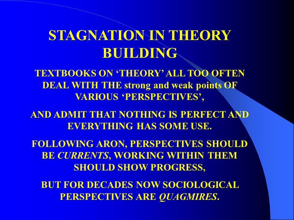 STAGNATION IN THEORY BUILDING TEXTBOOKS ON 'THEORY' ALL TOO OFTEN DEAL WITH THE strong and weak points OF VARIOUS 'PERSPECTIVES', AND ADMIT THAT NOTHI