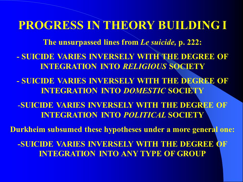 PROGRESS IN THEORY BUILDING I The unsurpassed lines from Le suicide, p. 222: - SUICIDE VARIES INVERSELY WITH THE DEGREE OF INTEGRATION INTO RELIGIOUS