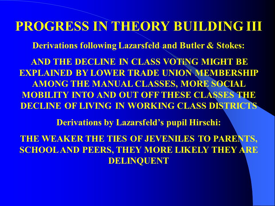 PROGRESS IN THEORY BUILDING III Derivations following Lazarsfeld and Butler & Stokes: AND THE DECLINE IN CLASS VOTiNG MIGHT BE EXPLAINED BY LOWER TRADE UNION MEMBERSHIP AMONG THE MANUAL CLASSES, MORE SOCIAL MOBILITY INTO AND OUT OFF THESE CLASSES THE DECLINE OF LIVING IN WORKING CLASS DISTRICTS Derivations by Lazarsfeld's pupil Hirschi: THE WEAKER THE TIES OF JEVENILES TO PARENTS, SCHOOL AND PEERS, THEY MORE LIKELY THEY ARE DELINQUENT