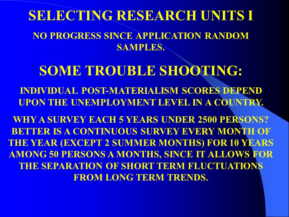SELECTING RESEARCH UNITS I NO PROGRESS SINCE APPLICATION RANDOM SAMPLES.