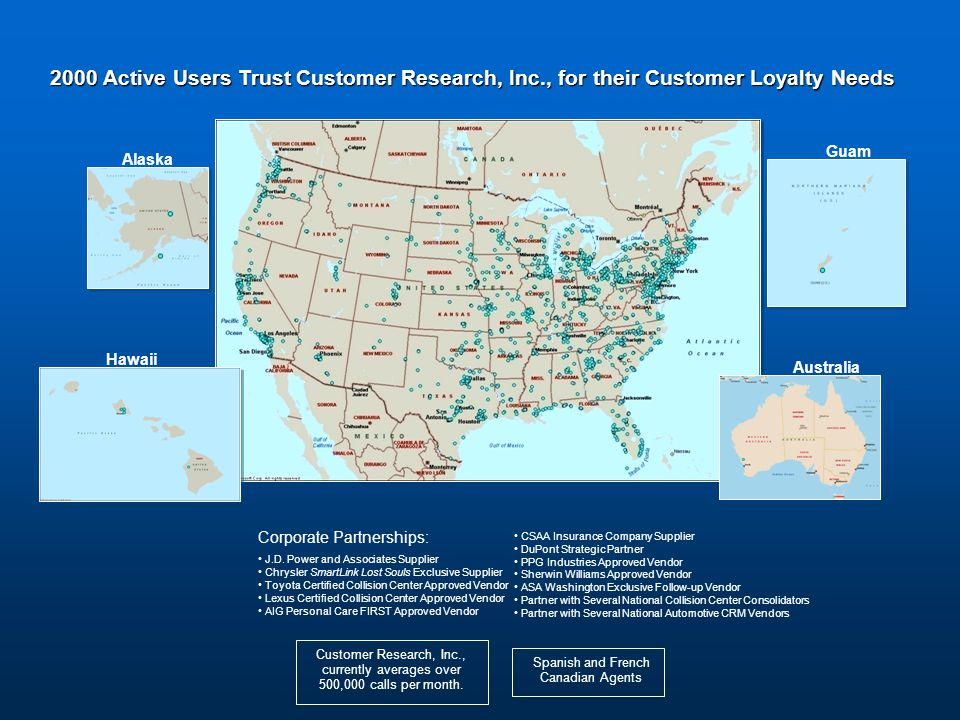 2000 Active Users Trust Customer Research, Inc., for their Customer Loyalty Needs Alaska Hawaii Australia Guam Customer Research, Inc.