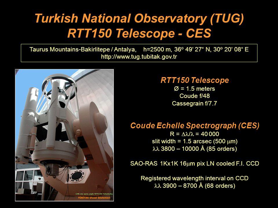 Turkish National Observatory (TUG) RTT150 Telescope - CES Taurus Mountains-Bakirlitepe / Antalya, h=2500 m, 36º 49 27 N, 30º 20 08 E http://www.tug.tubitak.gov.tr RTT150 Telescope Ø = 1.5 meters Coude f/48 Cassegrain f/7.7 Coude Echelle Spectrograph (CES) R =  / = 40 000 slit width = 1.5 arcsec (500  m) 3800 – 10000 Å (85 orders) SAO-RAS 1Kx1K 16  m pix LN cooled F.I.
