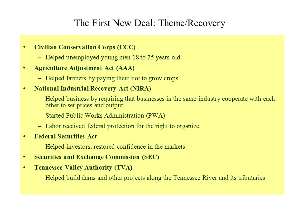 The First New Deal: Theme/Recovery Civilian Conservation Corps (CCC) –Helped unemployed young men 18 to 25 years old Agriculture Adjustment Act (AAA)