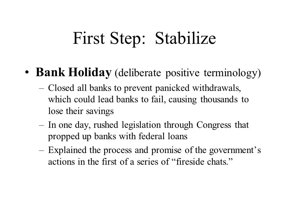 I want to talk for a few minutes with the people of the United States about banking...