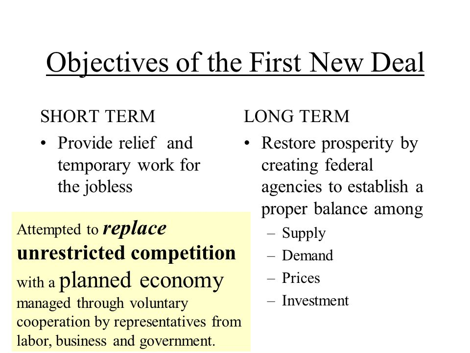 The First New Deal: Theme/Recovery Civilian Conservation Corps (CCC) –Helped unemployed young men 18 to 25 years old Agriculture Adjustment Act (AAA) –Helped farmers by paying them not to grow crops National Industrial Recovery Act (NIRA) –Helped business by requiring that businesses in the same industry cooperate with each other to set prices and output –Started Public Works Administration (PWA) –Labor received federal protection for the right to organize.