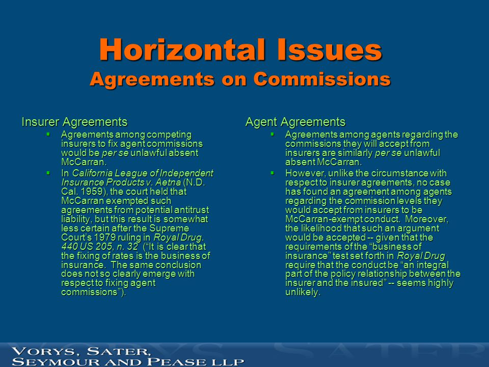 Are Vertical Agreements with Agents McCarran Protected.