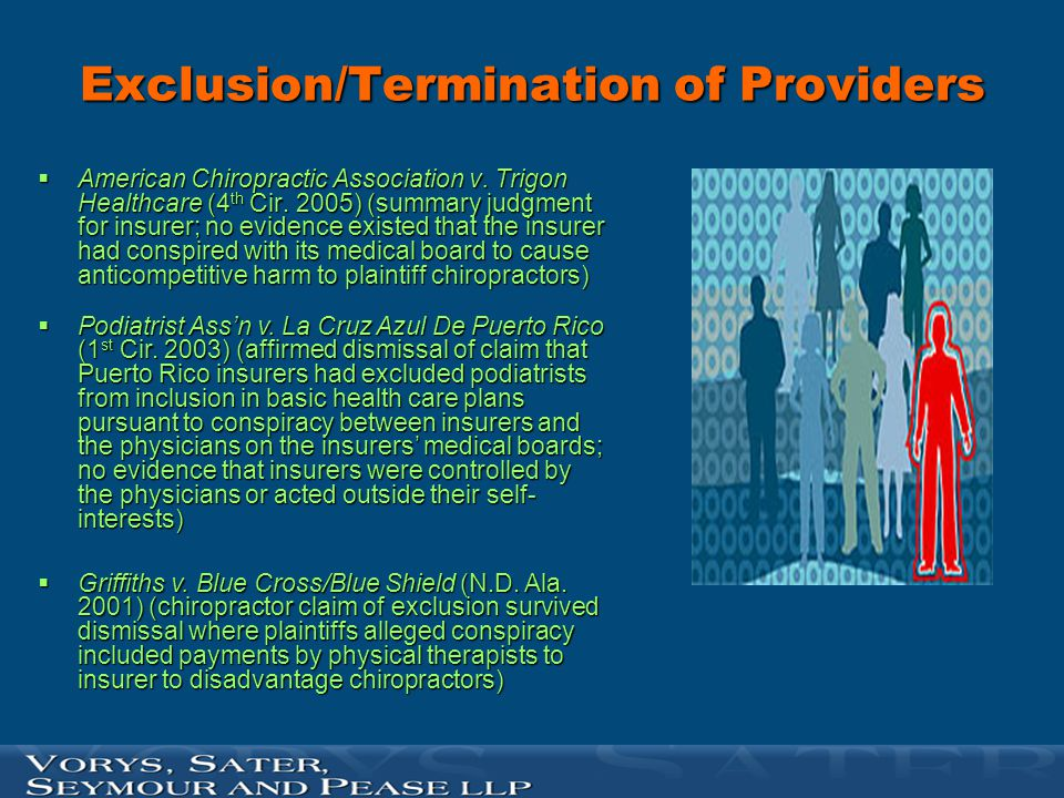 Exclusion/Termination of Providers  American Chiropractic Association v. Trigon Healthcare (4 th Cir. 2005) (summary judgment for insurer; no evidenc