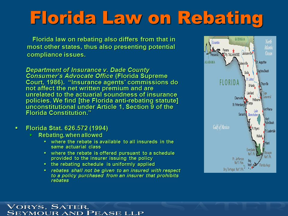 Recent Florida Rebate Case  In 2000, in Chicago Title Insurance v.