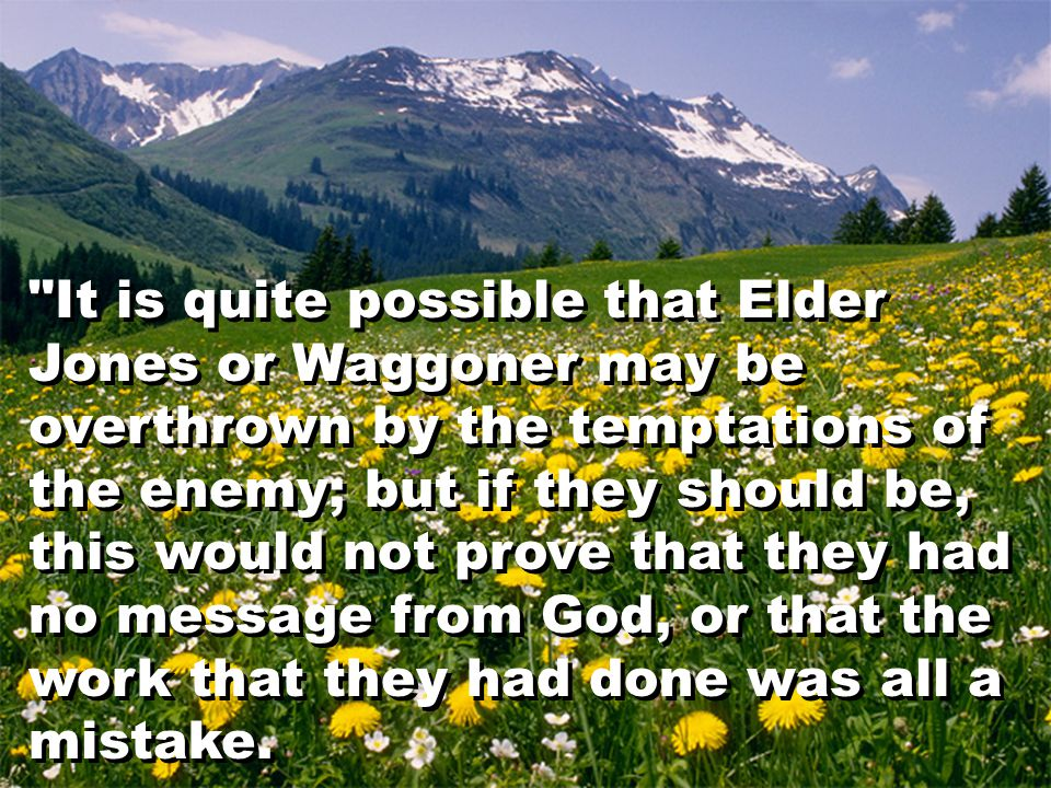 It is quite possible that Elder Jones or Waggoner may be overthrown by the temptations of the enemy; but if they should be, this would not prove that they had no message from God, or that the work that they had done was all a mistake.
