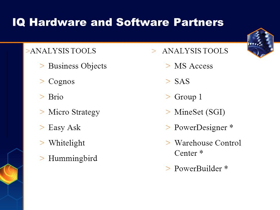 IQ Hardware and Software Partners >PLATFORMS >Sun Solaris >HP - UX >IBM AIX (Simplex) >NT >LINUX 32 bit >WEB ANALYSIS APPL.